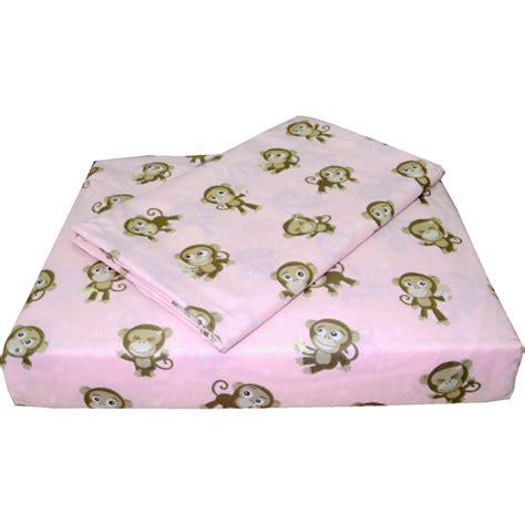 playful monkeys twin bed sheets 3pc pink animal sheet