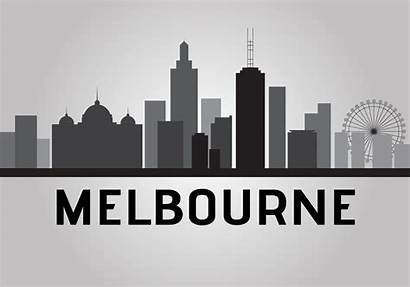 Melbourne Skyline Vector Silhouette Clipart Icon Landmark