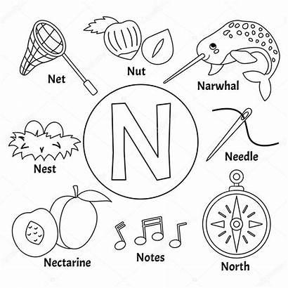 Alphabet Letter Cartoon Animal Coloring Abc Vektors