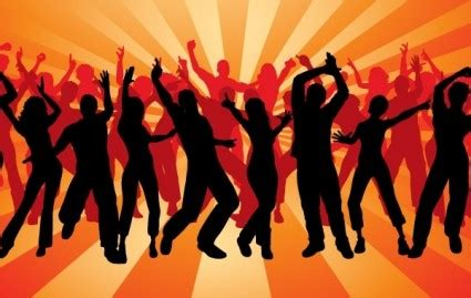 silhouette peoples dancing vector background ai svg