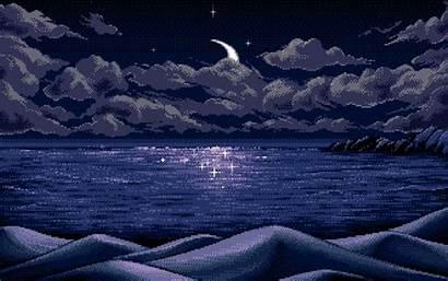 Pixel Clouds Moon Night Wallpapers Wallpapersafari Lakes