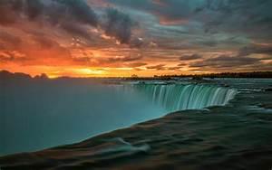 Niagara, Falls, In, Canada, Sunset, Landscape, Nature, 4k, Ultra