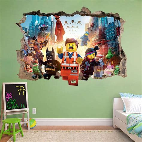 Lego Movie 3d Wall Sticker Smashed Awesome Bedroom Kids