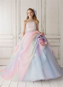 this pastel rainbow gown from yumi katsura featuring With pastel wedding dress