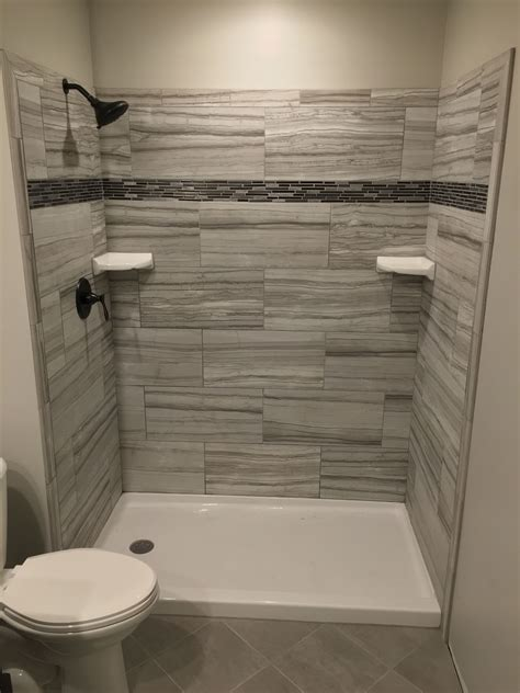 tile shower grigio  home depot bathroom