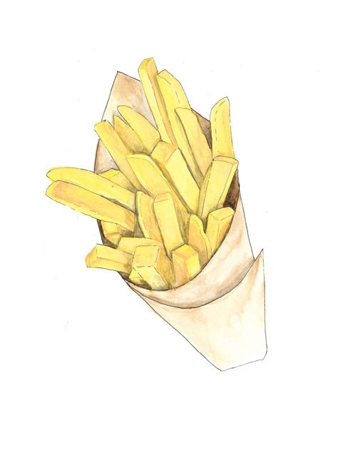 french fries paper cone hand drawn watercolor illustration