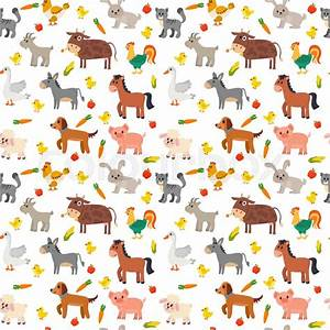 Seamless pattern with farm animals, vegetables and fruits