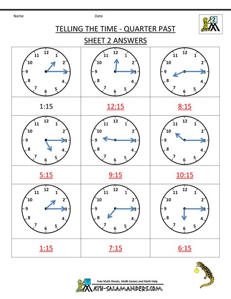 worksheet telling time to the quarter hour worksheets