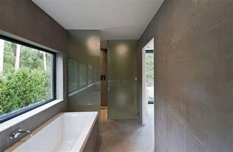 open plan shower modern bungalow design in cubic volume visual effect
