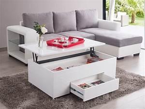 Table Basse Multifonction : table basse rectangulaire en bois plateau relevable l 110 ~ Premium-room.com Idées de Décoration