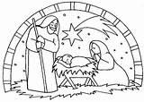 Jesus Nativity Coloring Birth Scene Pages Drawing Christmas Simple Sheets Characters Para Manger Printable Navidad Colorear Dibujos Birthday Colorluna Drawings sketch template