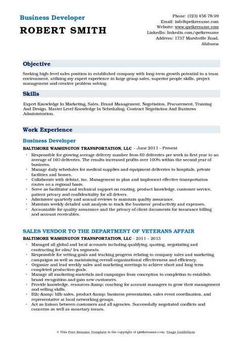 business developer resume sles qwikresume