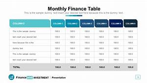Monthly Finance Table In Powerpoint