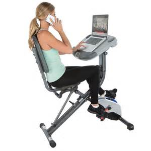 amazon com exerpeutic workfit 1000 fully adjustable desk folding exercise bike with pulse