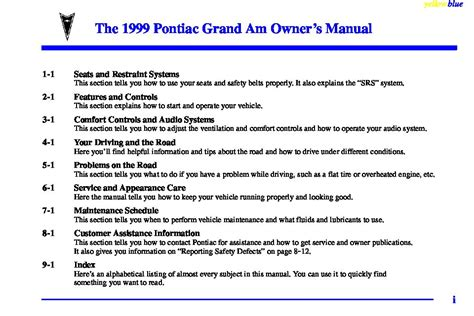 1999 Pontiac Grand Am Repair Manual by 1999 Pontiac Grand Am Owners Manual Just Give Me The