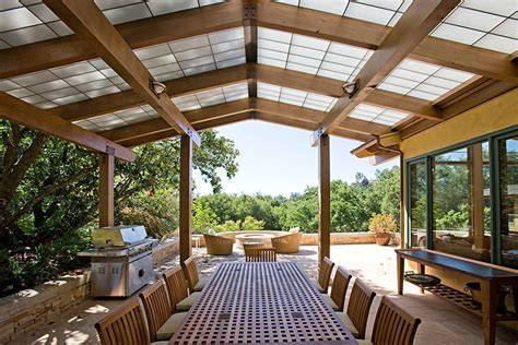 awesome patio roof designs with dining table chair stone wall
