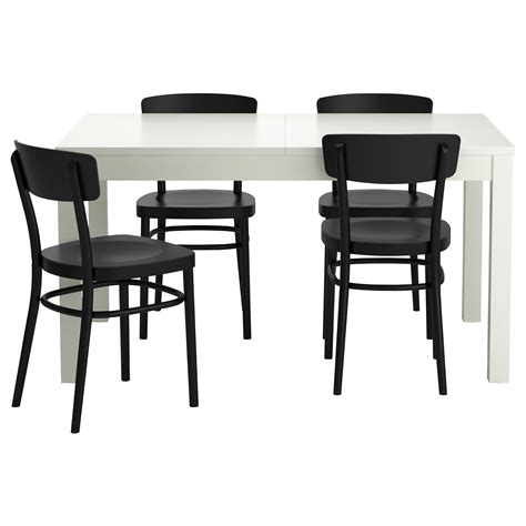idolf bjursta table and 4 chairs white black 140 cm ikea