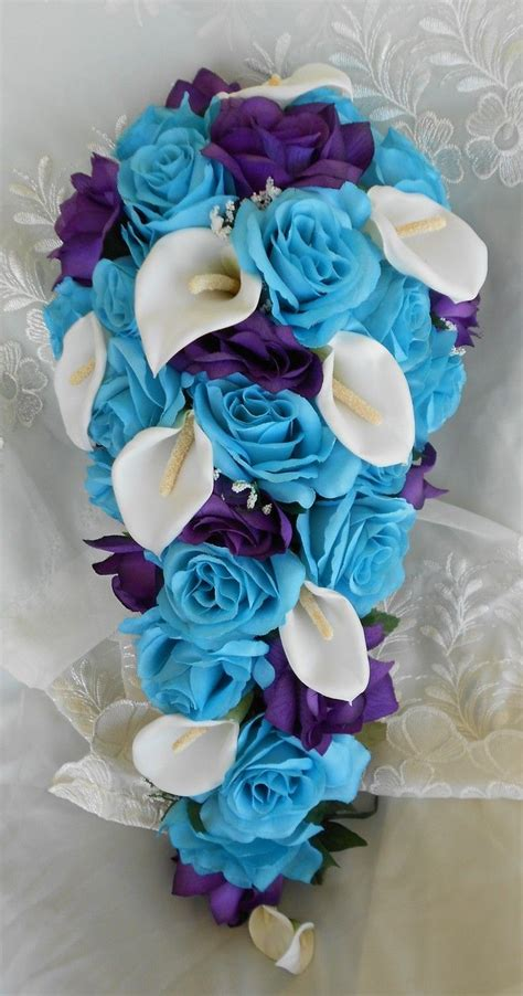 Cascade Bridal Bouquet Turquoise Royal Blue Roses With