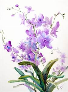 Original Large watercolor Painting Orchids 18 X 24 original