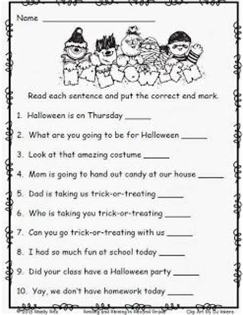 Halloween Worksheets For 2nd Gradefree End Punctuation Worksheet  School Stuff Pinterest