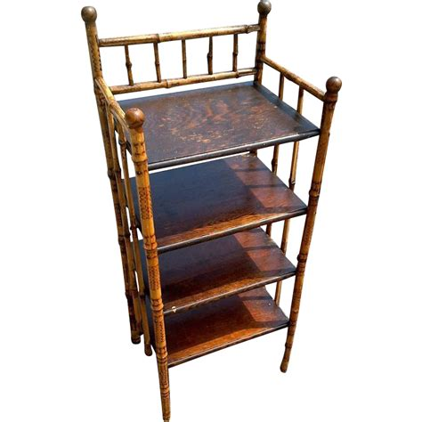bamboo 5 shelf bookcase antique victorian bamboo oak shelf bookcase red tag sale