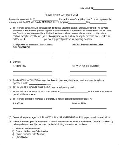 sample blanket purchase agreement templates  ms