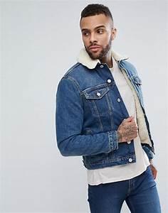 Veste Homme Col Mouton : new look new look veste en jean avec doublure imitation peau de mouton d lav bleu moyen ~ Dallasstarsshop.com Idées de Décoration