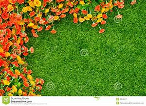 Artificial Grass And Flowers Royalty Free Stock
