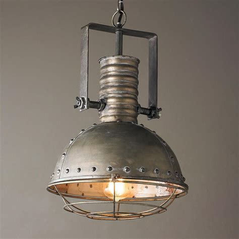industrial caged pendant  rivets   industrial chic industrial style lighting