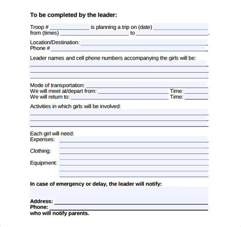 permission slip template    documents