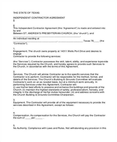 independent contractor agreement form samples