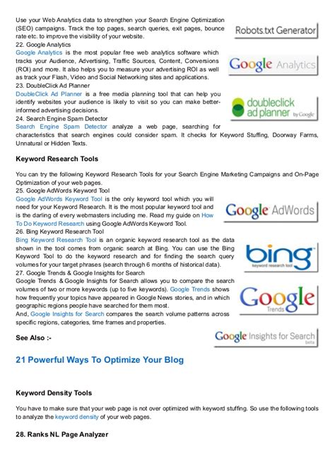 Best Search Engine Optimization Tools by Top 30 Free Search Engine Optimization Tools