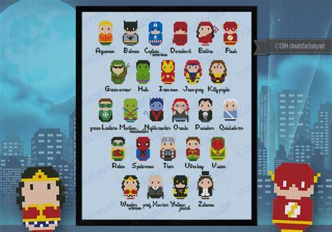 superheroes alphabet sampler digital cross stitch pattern