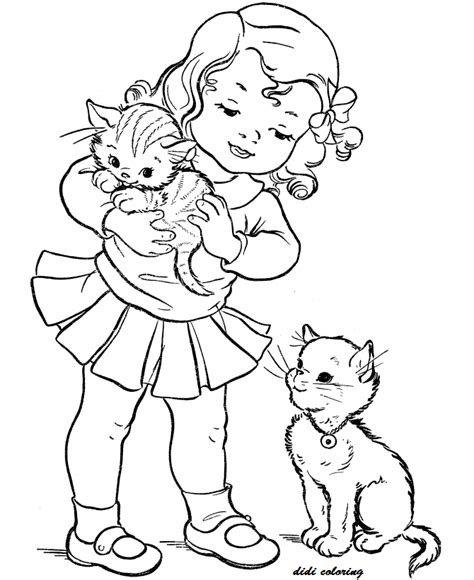 cats girls girls coloring pages kitten