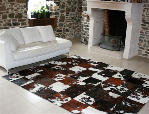tapis patchwork en peau de vache normande peaudevache
