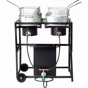 King Kooker Frying Cart With Fry Pans  U2014 Dual Burners