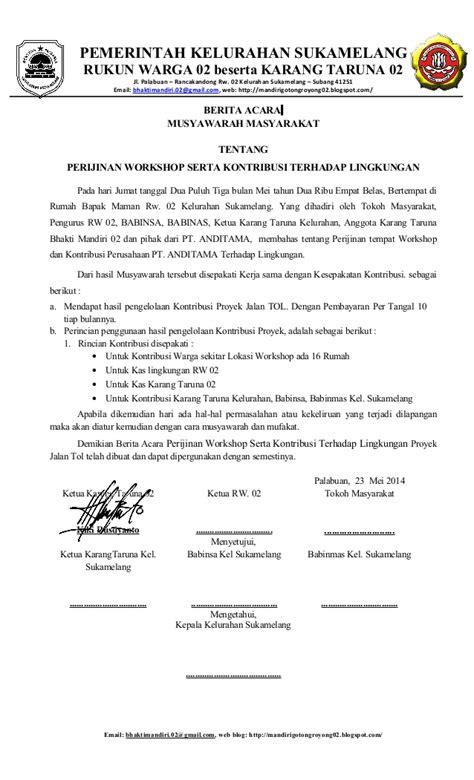 Contoh Surat Berita Acara Rapat berita acara hasil rapat tgl 23 mei 2014 tentang perijinan