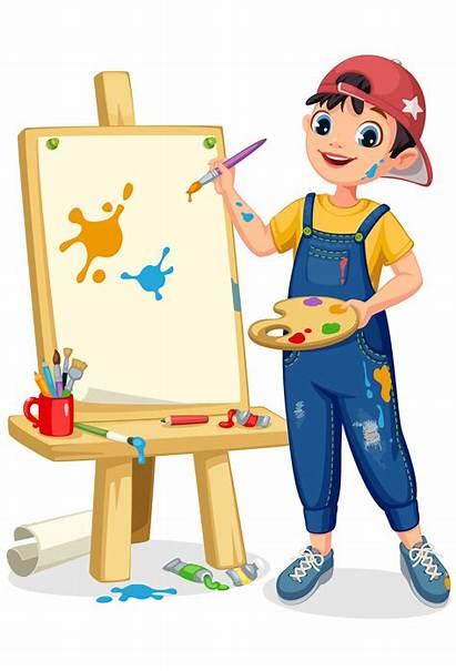 Boy Artist Painting Canvas Clipart