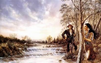 American Native Indian Landscape Woman Gun West