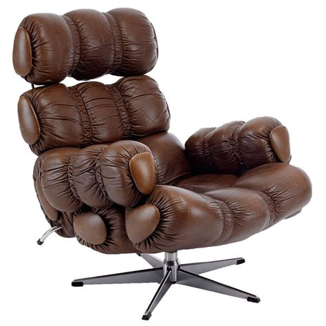 brown leather lounge chair with swivel base 1970 at 1stdibs