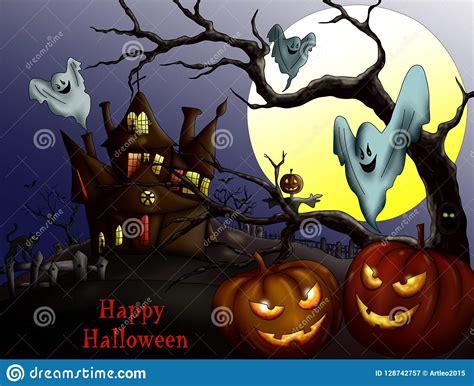 happy halloween  pumpkin haunted house  full moon
