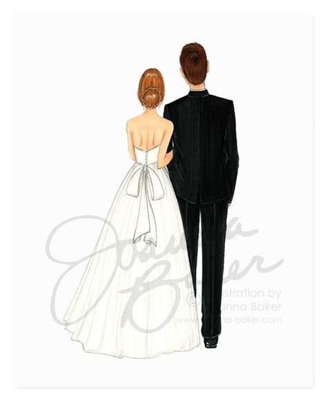 Semi Custom Bride & Groom Wedding Fashion Illustration Art