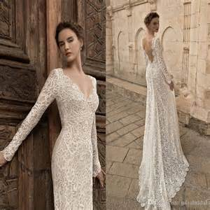 vintage lace sleeve wedding dress vintage sleeve lace wedding dresses 2015 plunging neckline open back sweep bridal