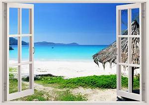 beautiful beach removable wall decals 3d window beach vinyl With beautiful beach decals for walls
