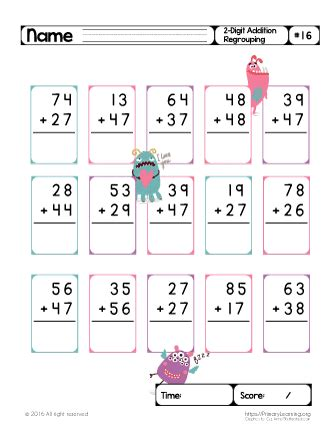 With this math sheet generator, you can easily create. Two Digit Addition (Regrouping) #16 | Primary Learning