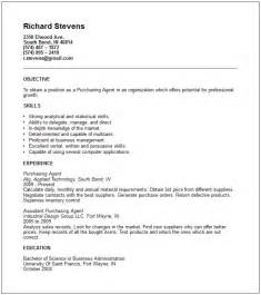 purchasing resume exles purchasing resume exle free templates collection