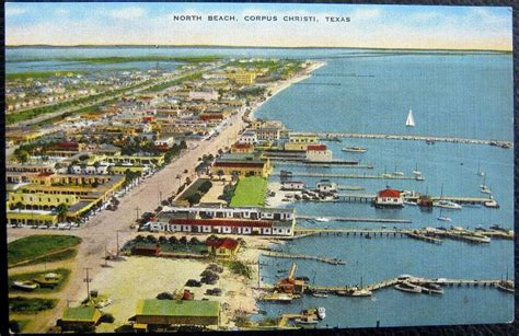This sparkling city by the bay truly lives up to the name its been lovingly given. CORPUS CHRISTI Texas ~ 1940's NORTH BEACH ~ DOWNTOWN VIEW ~ PIERS   eBay