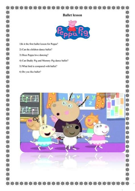 peppa pig ballet lesson worksheet  esl printable