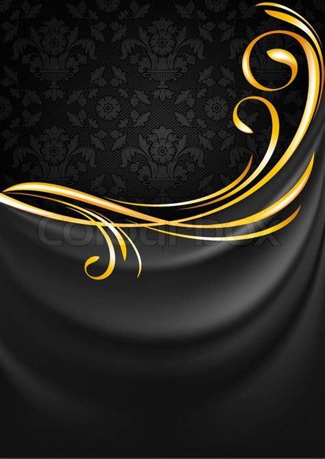 dark gray fabric curtain background gold vignette stock