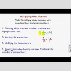 Multiplying Mixed Numbers With Whole Numbers Youtube